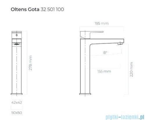 Oltens Gota bateria umywalkowa wysoka czarny mat 32401300