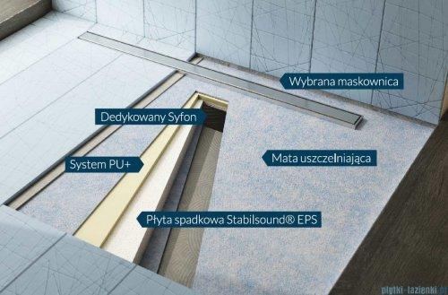 Schedpol brodzik posadzkowy podpłytkowy ruszt Slim Lux Steel 130+50x80x5cm 10.114/OLSL