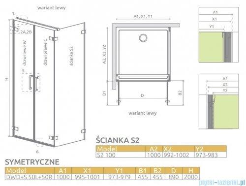 Radaway Arta Dwd+s kabina 100x100cm lewa szkło przejrzyste 386182-03-01L/386052-03-01R/386112-03-01