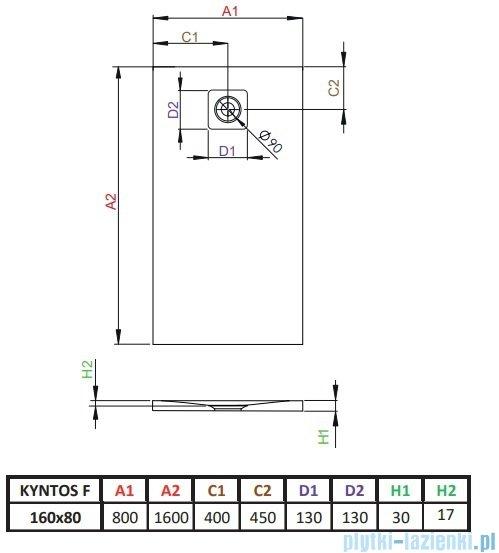 Radaway Kyntos F brodzik 160x80cm biały HKF16080-04