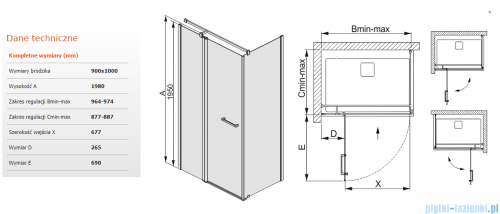 Sanplast kabina narożna prostokątna 90x100x198 cm KNDJ2/PRIII-90x100 przejrzyste 600-073-0290-01-401