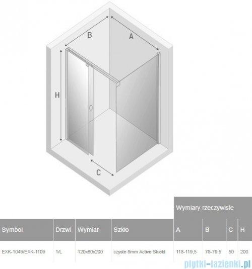 New Trendy kabina prostokątna Porta 120x80x200cm lewa przejrzyste EXK-1049/EXK-1109