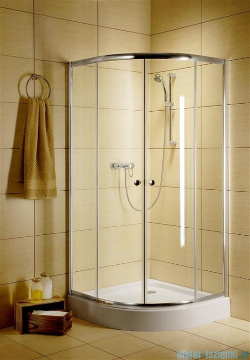Radaway Classic A Kabina prysznicowa półokrągła z drzwiami przesuwnymi 80x80x185 szkło przejrzyste profile białe