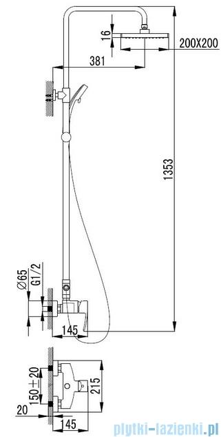 Omnires Murray kolumna natryskowa z baterią chrom MU6144CR