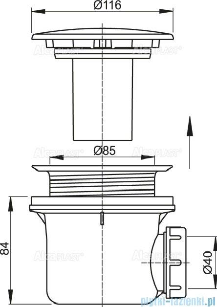 Alcaplast syfon brodzikowy Ø90 korek biały A49B