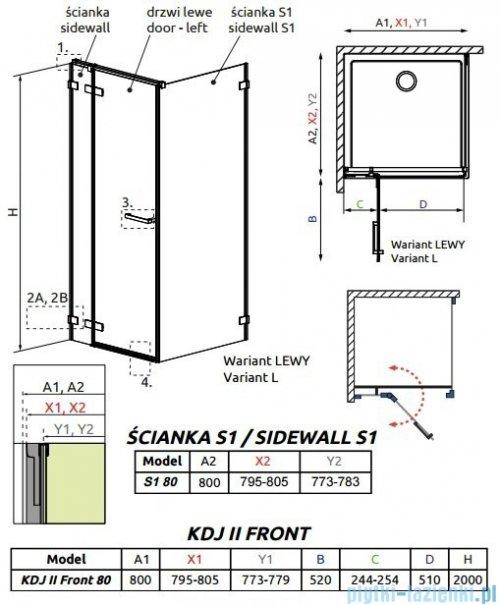 Radaway Arta Kdj II kabina 80x80cm lewa szkło przejrzyste + brodzik Doros C + syfon