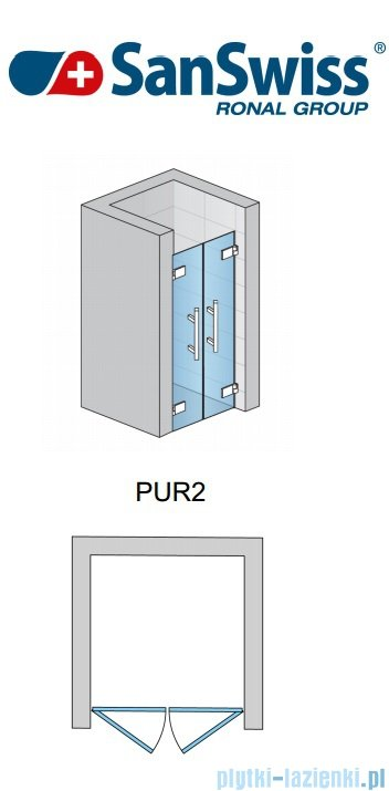 SanSwiss Pur PUR2 Drzwi 2-częściowe wymiar specjalny profil chrom szkło Krople PUR2SM11044