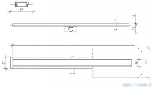 Wiper Premium Slim Ponente odpływ liniowy 50 cm z kołnierzem rysunek techniczny