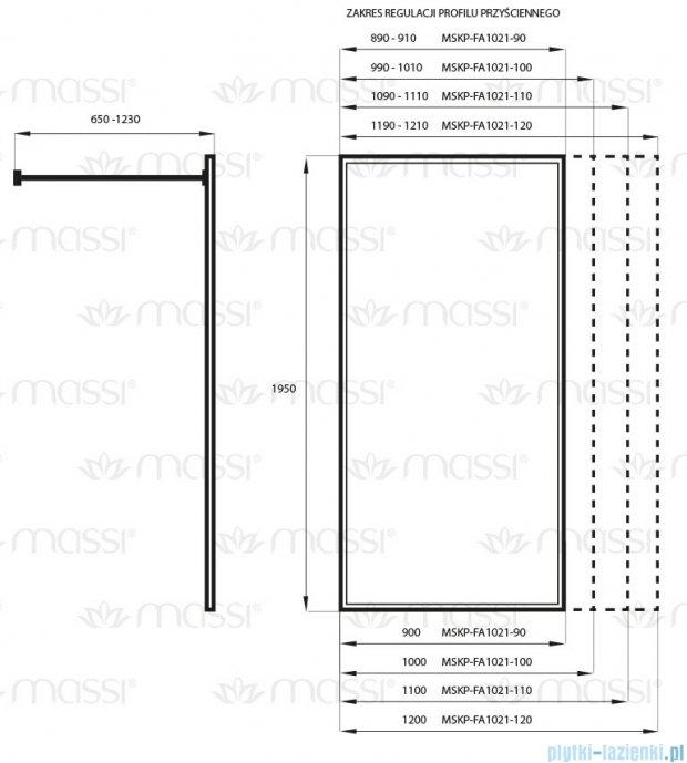 Massi Fix kabina prysznicowa walk In 90x195 cm przejrzyste MSKP-FA1021-90