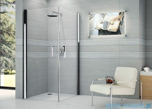 Novellini Ścianka prysznicowa GIADA 2G 84 cm lewa szkło przejrzyste profil chrom GIADN2G84LS-1K