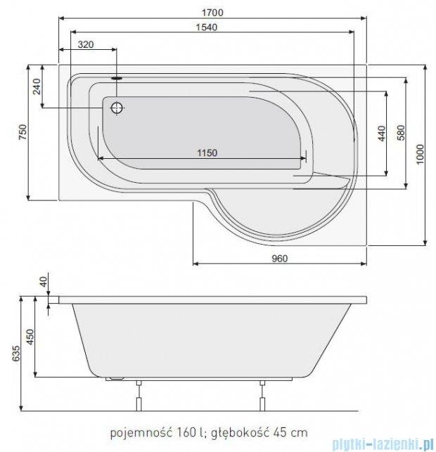 Poolspa Intea wanna asymetryczna 170x100 prawa + hydromasaż system Smart 1 PHARW10ST1C0000