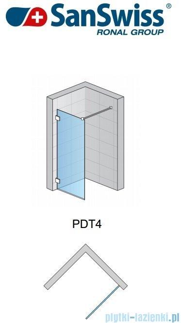 SanSwiss Pur PDT4 Ścianka wolnostojąca 100-160cm profil chrom szkło Durlux 200 Lewa PDT4GSM31022