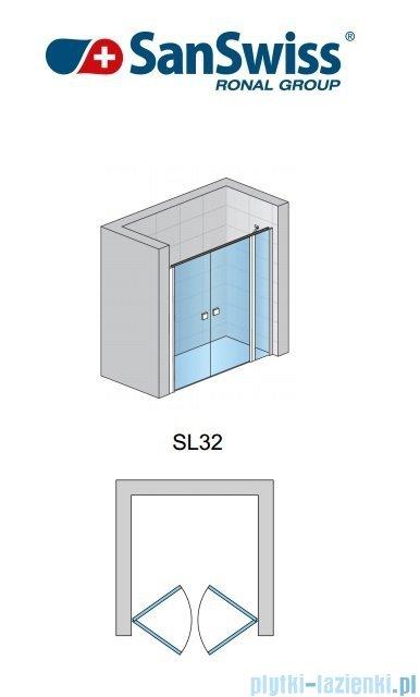 SanSwiss Swing-Line Drzwi 2-częściowe ze ścianką stałą w linii 100cm SL3210000107
