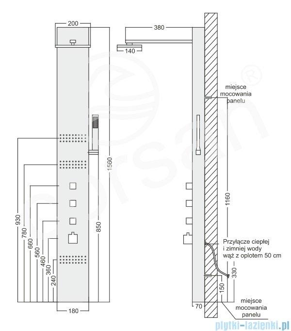 Corsan Neo Panel natryskowy z mieszaczem stal szczotkowana S-060M