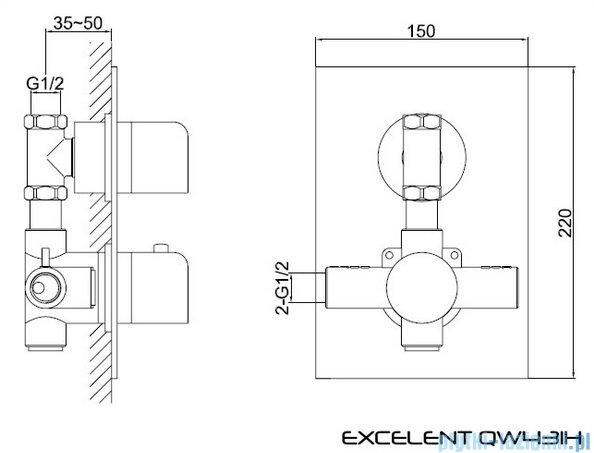 Kohlman Excelent termostatyczna podtynkowa bateria prysznicowa QW431H