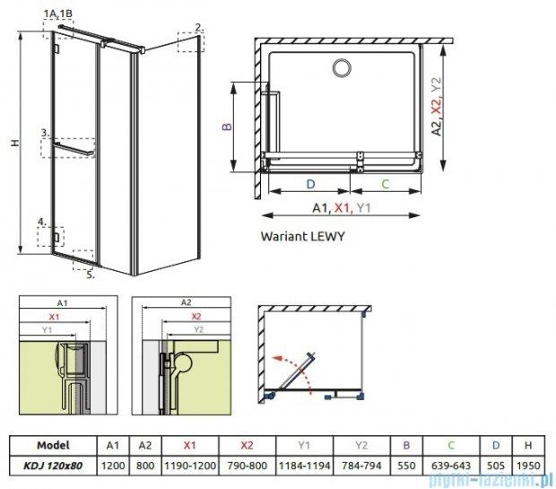 Radaway Carena Kdj Kabina prostokątna 120x80 lewa szkło przejrzyste 34442-01-01NL