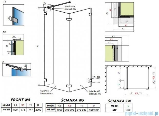 Radaway Euphoria Walk-in IV kabina 80x100cm szkło przejrzyste 383140-01-01/383152-01-01/383160-01-01