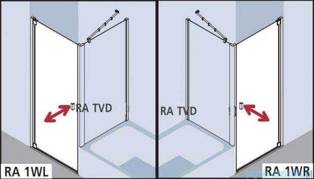 Kermi Raya Drzwi wahadłowe, 1-skrzydłowe, prawe, szkło przezroczyste z KermiClean, profile srebrne 75x200 RA1WR07520VPK