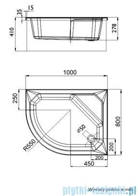 Schedpol Brodzik asymetryczny Delos prawy 80x100x41cm 3.079