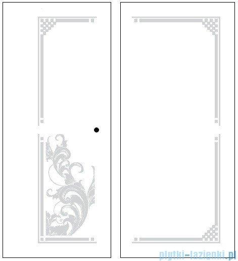 Kerasan Kabina kwadratowa prawa, szkło dekoracyjne przejrzyste profile brązowy 100x100 Retro 9149N3