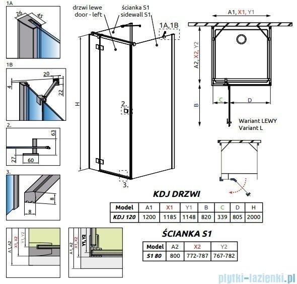 Radaway Essenza New Kdj+S kabina 80x120x80cm lewa szkło przejrzyste 385024-01-01L/384051-01-01/384051-01-01