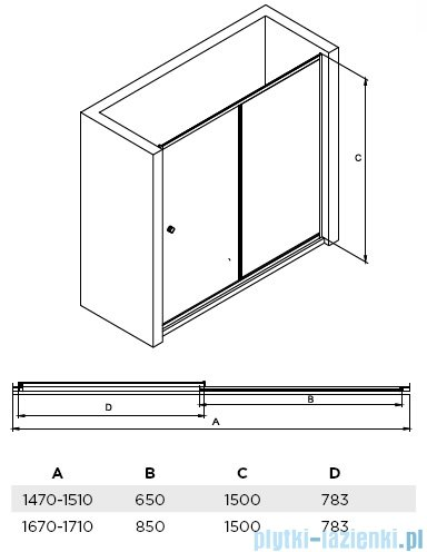 Besco Duo Slide II drzwi nawannowe 150x150cm DDS-II-150