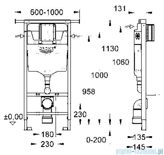 Grohe Rapid SL do WC ściennego spłuczka do WC 6-9l  38588001