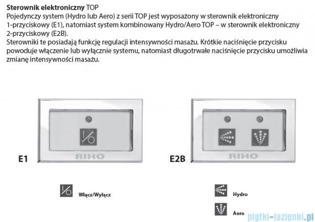 Riho Doppio wanna asymetryczna 180x130 lewa z hydromasażem TOP Hydro 6+6 BA91T2