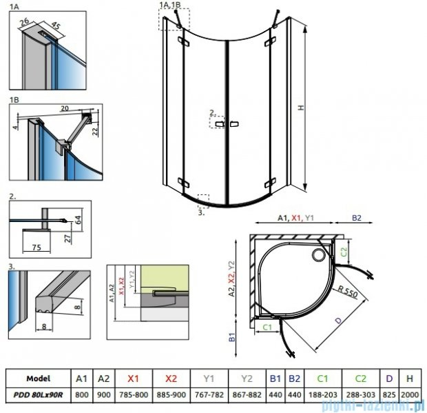 Radaway Fuenta New Pdd kabina 80x90cm szkło przejrzyste 384002-01-01L/384001-01-01R