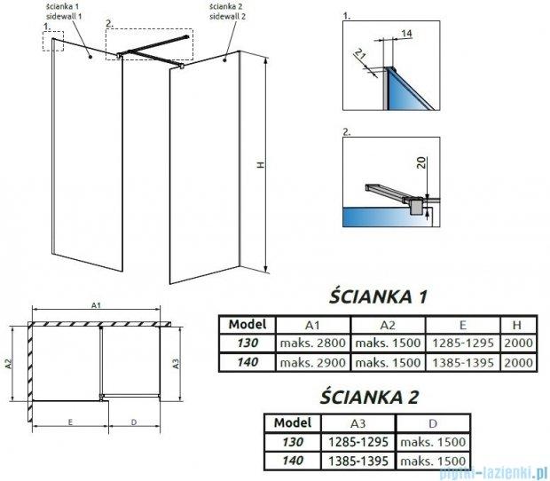 Radaway Modo New III kabina Walk-in 140x130x200 szkło przejrzyste 389144-01-01/389134-01-01/389000-01