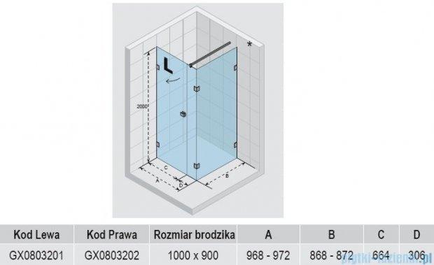 Riho Kabina prysznicowa Scandic Lift M204 100x90x200 cm LEWA GX0803201