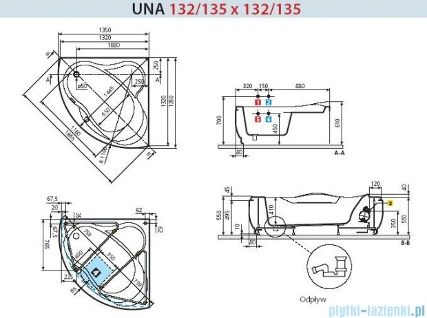 Novellini Wanna UNA ze stelażem 135x135 UNA2135135E-A1