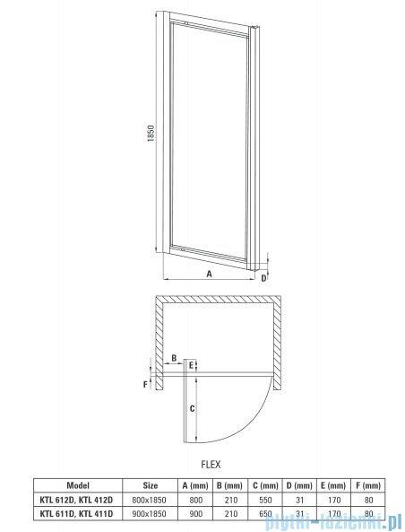 Deante Flex drzwi wnękowe uchylne szkło szronione 80x185 cm KTL 612D