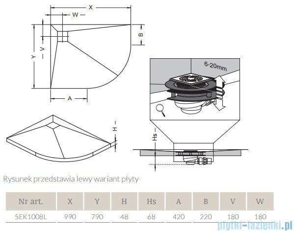 Radaway półokrągły brodzik podpłytkowy z kratką odpływową 99x79cm Lewa 5EK1008L,5K01,5SK1