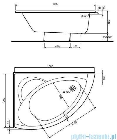 Koło Neo Plus Wanna asymetryczna 150x100cm Lewa XWA0751