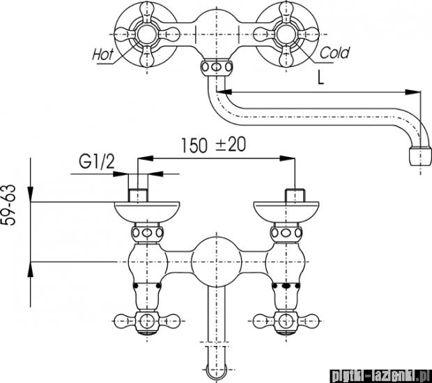 KFA RETRO CLASSIC bateria zlewozmywakowa, długość wylewki L = 160 mm CHROM   380-420-00
