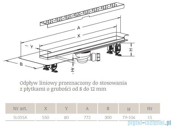 Radaway Odpływ liniowy 55x8cm 5L055A,5R055Q