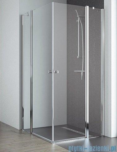 Radaway Eos II KDD kabina prysznicowa 80x90 szkło przejrzyste + brodzik Argos D + syfon 3799460-01L/3799461-01R/4AD89-01