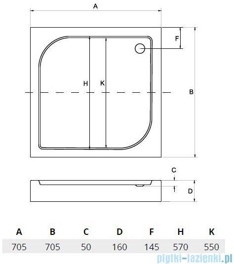 Sea Horse Brodzik prysznicowy  70x70 cm  kwadratowy BKB002/Q