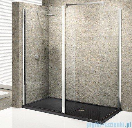 Novellini Elysium Kuadra hl Ścianka boczna 140cm szkło przejrzyste profil chrom KUADH140-1K