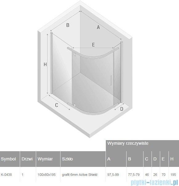 New Trendy New Komfort kabina asymetryczna 100x80x195 cm grafit K-0438