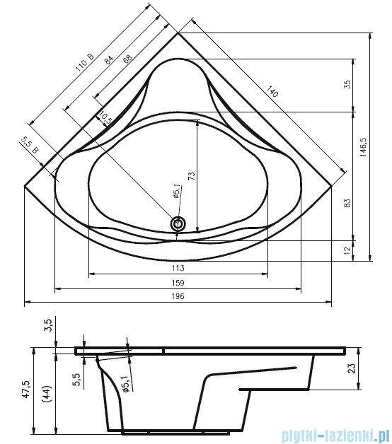 Riho Neo Wanna symetryczna 140x140 z hydromasażem PRO Hydro 6+4+2 BC34P6
