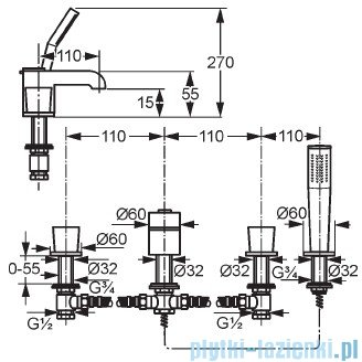 Kludi Joop Bateria wannowo-natryskowa DN 15 chrom 554240505