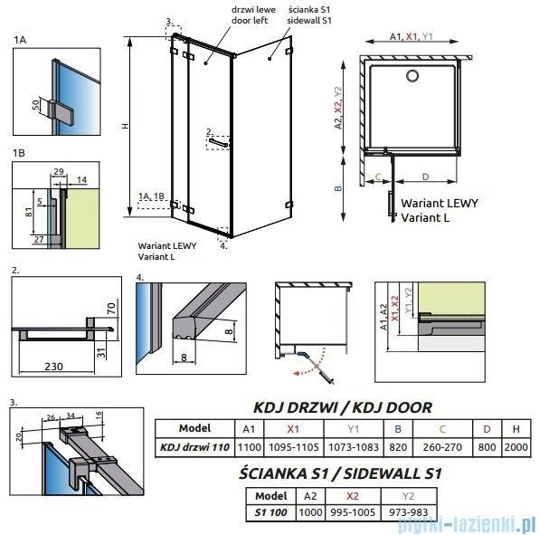 Radaway Euphoria KDJ Kabina prysznicowa 110x100 lewa szkło przejrzyste 383041-01L/383052-01