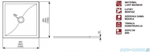 Aquaform Versus brodzik kwadratowy 90x90x3cm 06937