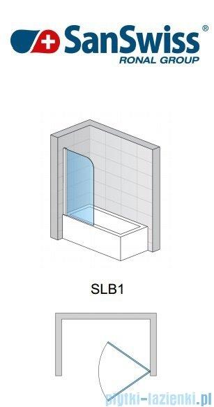 SanSwiss Swing Line SLB1 Parawan 1-częściowy 80cm profil biały Lewy SLB1G08000407