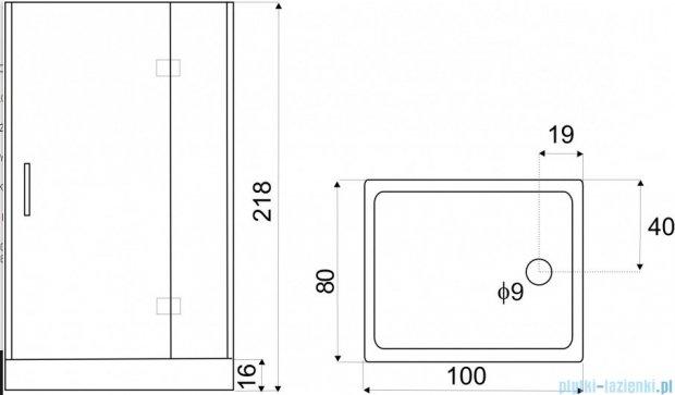 NOVOTERM DUET kabina natryskowo-masażowa 100x80 przejrzyste