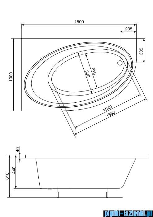 Roca Orbita wanna asymetryczna 150x100 cm lewa A24T201000