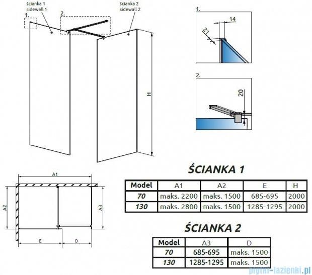 Radaway Modo New III kabina Walk-in 130x70x200 szkło przejrzyste 389134-01-01/389074-01-01/389000-01