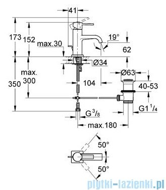 Grohe Allure bateria umywalkowa DN 15 z zestawem odpływowym chrom 32757000